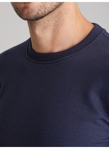 Dufy A.Grı Bısıklet Yaka Düz Erkek Sweatshırt - Slım Fıt Lacivert